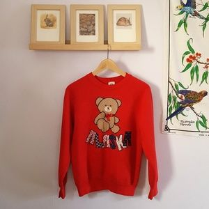 Vintage Teddy Bear Alaska Applique Red Sweatshirt